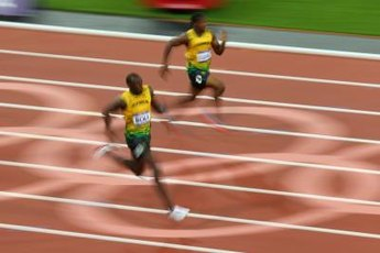 Usain Bolt runs the 200-meter dash at the 2012 Olympics.