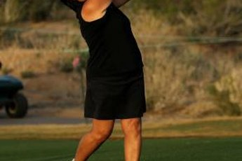 Hall of Fame member Nancy Lopez demonstrates firing her hips to a solid finish.