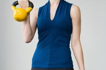 Vinyl-coated kettlebells come in bright colors.