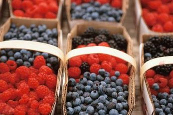 Blueberries and raspberries are high in antioxidants.
