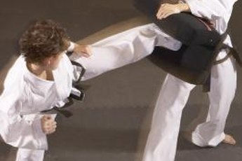 Practicing kicking techniques is what tae kwon do training is all about.