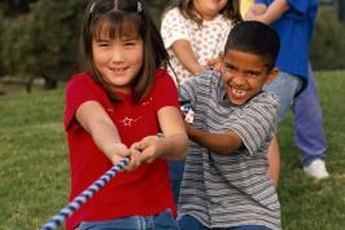 A simple game, such as tug-o-war, can build a youth's arm muscles.