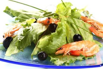 Shrimp makes a low-calorie, high-protein addition to salad.