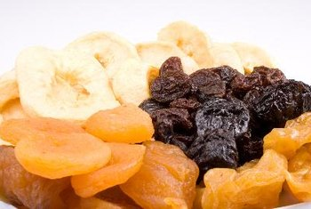 Dried apricots and prunes are high in dietary fiber.