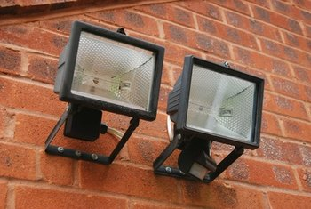 Outdoor sodium lights provide intense lighting for security.