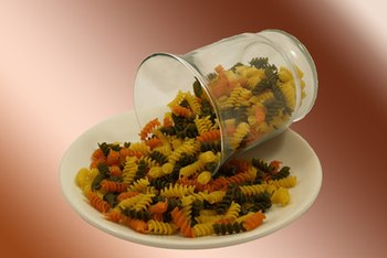 A serving of tricolor rotini is a good source of iron.