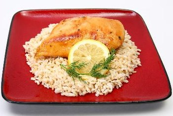 Baked breaded chicken breast is a healthy alternative to red meat.