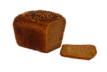 A slice of rye bread contains about 80 calories.