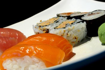 Sushi is a popular type of Japanese food.