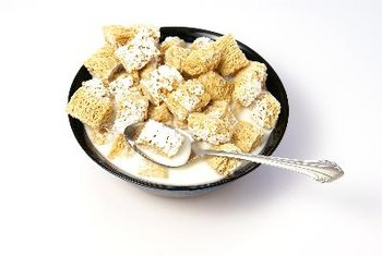 High-fiber breakfast cereal fills you up and keeps you from getting hungry quickly.
