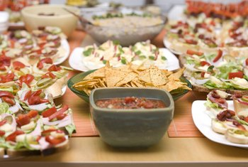 Traditional party buffets include high-fat dip and sugary desserts.
