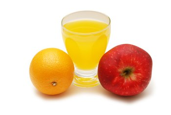 Orange and apple juice contain vitamin C.