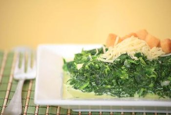 Dark leafy greens such as spinach are high in vitamin K.