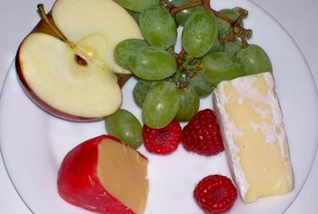 Fruit and cheese can be a healthy snack.