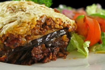 Vegetarian moussaka contains whole grains and is a good source of fiber.