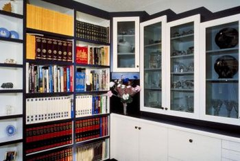 Contrasting colors can give a black lacquer hutch a whole new look.