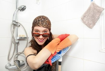 A shower glove cleans scummy doors better than a sponge.