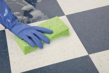 Always rinse floors thoroughly after acids and solvents have been used.