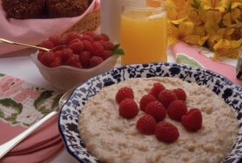 Oatmeal and fruit are good sources of fiber.