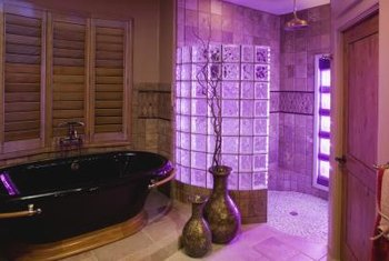Stylish shower surrounds can be made with glass bricks.
