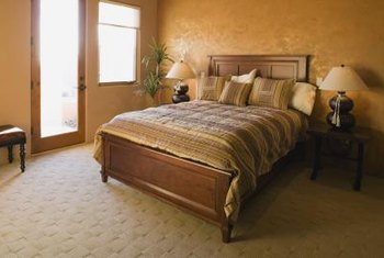 Deep mattresses protrude on sleigh beds with low footboards.
