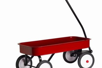 A child's wagon can serve double-duty as a toy and an attractive container garden.