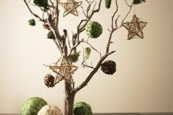 Highlight a branch with ornaments.