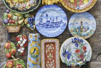 Brighten cabinet tops with colorful Italian ceramics.