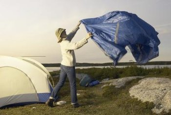 When camping, throw a tarp over your tent for extra rain protection.