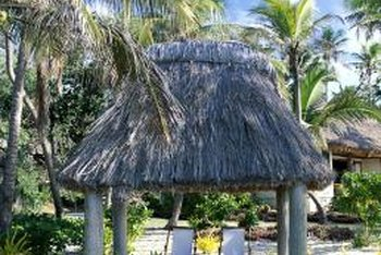 Thatched grass is a key component of Tiki hut decor.
