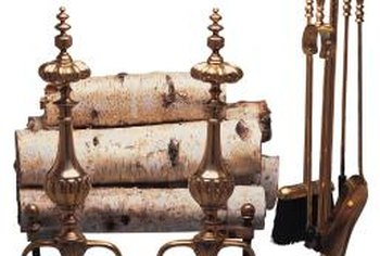 Decorative andirons give the fireplace character.