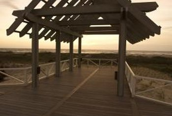 Some pergolas have angled roofs, but flat-roofed ones are easier to build.