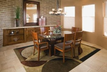 A Square Rug Harmonizes With Contemporary Dining Table And Angular Furniture