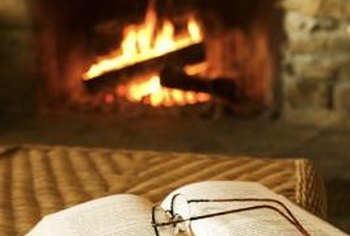 A propane fireplace insert provides warmth throughout the home.