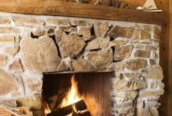 Faux stone can be used to cover a brick fireplace.