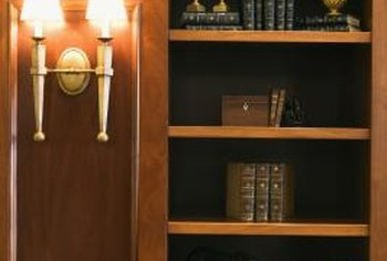 Built-in shelving in a dark wood stain adds rich, natural tones of brown.