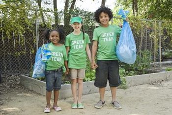 Enlist kids to help you pick up plastic bags and other debris.