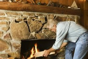Stone fireplaces can be updated with a new layer of stone veneer.