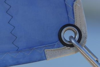 Attachment hardware is often affixed to grommets with carabiners.