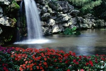 A waterfall adds another dimension to a pond.