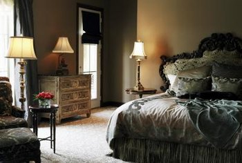 A dramatic headboard can help establish the bed as the focal point of the room.