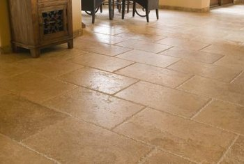 Vinyl flooring with the look of stone doesn't take long to install.