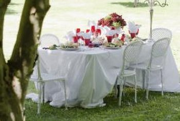 A shaded lawn can provide a delightful setting for dining outdoors.