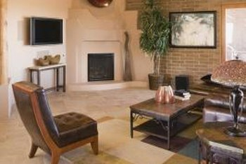 How To Decorate A Living Room With A Corner Fireplace. A Colorful Wall  Hanging Can Draw Your Eyes To A Corner Fireplace.