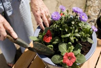 Pot risers promote good drainage for container plants.