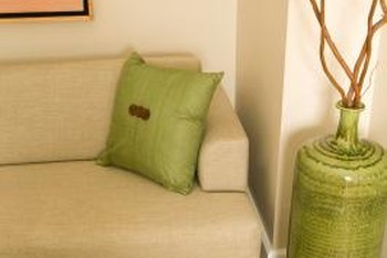 Lime green accessories pull together a room with similar-colored curtains.