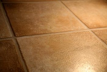 Vinyl tile mimics the look of real ceramic tile.