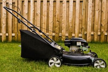 Lawnmowers should be stored in a protected area to keep rainwater out.