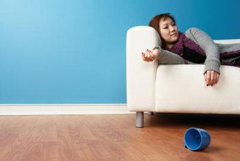 Spray-on protectants help prevent stains on sofa fabric.