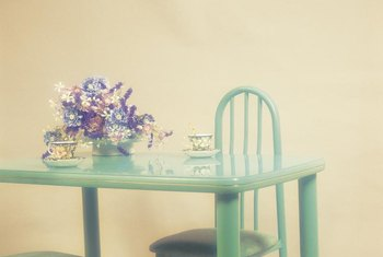 Celadon enamel transforms a tacky kitchen table into a shiny treasure.
